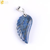 Wholesale lapis lazuli stone necklace - CSJA Angel Wing Pendant Carved Feather Natural Stone Amethyst Lapis Lazuli Butterfly Crystal Gemstone Men Women Love Jewelry Handmade E768 A