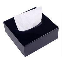 acryl-box-top großhandel-Deluxe Black Square Acryl Zähler Top Tissue Aufbewahrungsbox Organizer Halter Abdeckung Auto Tissue Tray