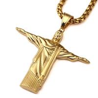 Wholesale cross statues resale online - 2018 New Stainless Steel Gold Christ Redeemer Pendant Necklace Man Brazil Rio De Janeiro Statue Jesus Charm Cuban Chain Jewelry