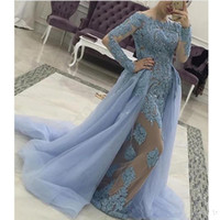 Wholesale nude pictures women for sale - Group buy Zuhair Murad Long Sleeves Women Formal Evening Dresses Nude Lining Sequins Lace Prom Gowns Mermaid Detachable Train Tulle Arabic Muslim