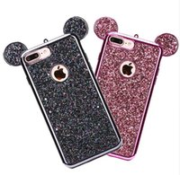 Wholesale 3d bling case cover - 3D Mouse Ears Bling Paillettes Electroplating Soft TPU Phone Shell Cover for Iphone 6 6splus 7 8 8plus x Samsung S7 S7 edge S8 S8 Plus