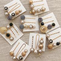 düğme toka toptan satış-Moda Saç Aksesuarları Houndstooth Düğme Imitiation İnci Saç Klipler Metal Kalp Yıldız Kristal Firkete Barrett 3pcs / set
