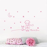 Wholesale cute romantic Little Prince With Fox Moon Star home decor wall sticker for kids baby room Christmas gift for boy girl ZY8518