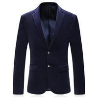 patrones de ropa suelta al por mayor-Accesorios de ropa Otoño Nuevo patrón de pana Hombre Traje de dos botones clásico Código de capa suelta