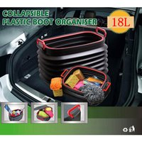 Discount boots organizer - 18L Car Trunk Collapsible Storage Box Plastic Garage Boot Organizer Bag Auto Folding Bin Fishing Bucket Outdoor Camping AAA167