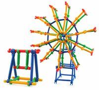 blocos de plástico para bebê venda por atacado-O bebê caçoa a inteligência plástica da vara esperta cola o brinquedo educacional do jardim de infância dos blocos de apartamentos - 495g