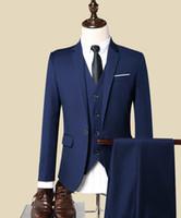 синий костюм серый жених оптовых-Wine Blue Black Grey Men's Suits Formal Suits Groom Wedding Business Custom Made 3 Piece Jacket/Pants/Vest S80301