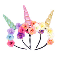 Wholesale fancy hair accessories - Spring outwear hair accessories Magical Unicorn party kids headband flower fancy dress cosplay decorative for girls women