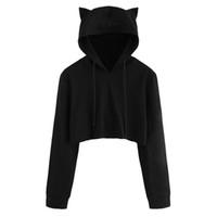 черный с длинным рукавом оптовых-2018 Loose Autumn Hoodies Running Sweatshirt Women Black Long Sleeve Crop Top Drawstring Short Tank Tops jogger Sport T-shirt