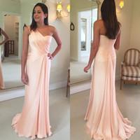 Wholesale red flowing evening dress online - Modern Pink Prom Dresses Sheath One Shoulder Flow Pleats Long Bridesmaids Gowns Evening Dress BM0177