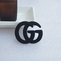 Wholesale silver brooch stones for sale - Group buy Black Plush Double Letter G Brooch Fashion Metal Brooches Pin Clothes Accessories For Women Jewelry Gift Drop Shipping