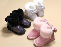 Wholesale winter female boots - Girls snow boots 2018 winter new plus cashmere winter boots warm children waterproof non-slip baby booties female