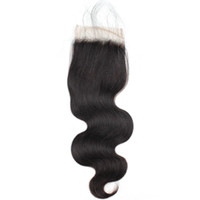 Wholesale virgin indian swiss lace closure online - 8A Brazilian Peruvian Malaysian Virgin Hair with Baby Hair Fashion Body Wave Closure Human Hair Weave Swiss Lace Closure Free Middle