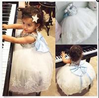Wholesale White Sequin Dress Baby Girl - Girls Sequins Bubble Skirt Blue Bow Baby Girls Princess Dresses Lace Summer Dresses Sleeveless Cotton Vest Skirt 1-5T