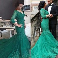 Wholesale Wedding Dresses Cheaper - 2018 New cheaper plus size sarahbridal Emerald Green Arabic Dress Mermaid V Neck Long Sleeves Full Lace Appliqued Formal Party Gowns
