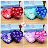 Wholesale artificial heart roses for sale - Group buy Heart Shaped Rose Soap Flowers Romantic Wedding Party Gift Artificial Rose Flower Decor Health Care Tool Petals Real Touch