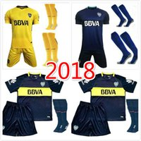 Wholesale Sports Jersey Kits - Top quality 2017 18 Boca Juniors soccer uniforms men's short sleeve soccer jerseys+Socks Boca blue football wear soccer kit sport sets