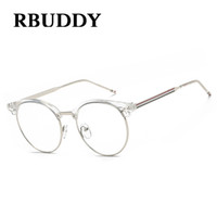Wholesale Fake Glasses Frames - RBUDDY Clear Glasses Frame Alloy Striped Computer glasses Fake Clear Lens transparent Half Metal Eyeglasses For Women Men 2017
