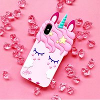 Wholesale Dirt Girl - Pink Rubber Silicone Cute Horse with Long Eyelash Unicorn Shape Phone Case for iphone X Girls