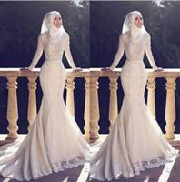 weiße hochzeit lange ärmel kleid großhandel-Stehkragen Muslim Pakistan Mittlere Osten Brautkleider Stehkragen Weiß Applique Spitze Langarm Brautkleid