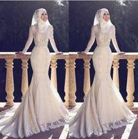 vestido de manga larga blanco de la boda al por mayor-Vestidos de boda de cuello alto musulmanes Pakistán Oriente Medio Cuello alto apliques de encaje de manga larga vestidos de novia nupciales