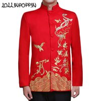 Wholesale Traditional Chinese Men Suit - Chinese Traditional Phoenix Embroidery Mens Wedding Suit Jacket Mandarin Collar Propitious Clouds Men Red Bridegroom Jacket