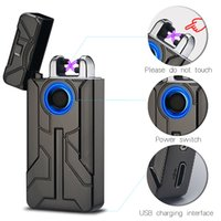 Wholesale arc touch - New Iron Man Design Fingerprint Touch Switch USB Rechargeable Pulsed Arc Lighter Electric Plasma Cigarette Lighter