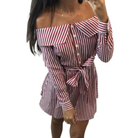Wholesale kawaii chiffon dress for sale - Slash Neck Buttons Sweet Striped Dress Girls Long Sleeve Cute Dresses Plus Size Women Female Kawaii Striped Sundress GV196