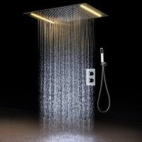 Wholesale shower ceiling mount - 2 ways Luxury Ceiling Mounted Shower Set Thermostatic Mixer Bathroom Led Rainfall LED Shower Head 360*500mm color Shower new