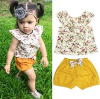 Wholesale kids yellow tank top for sale - Group buy Hot Sale Summer Baby Girl Cotton Clothes Floral Tank Top bow knot Shorts Outfits Toddler Kids Clothing Set