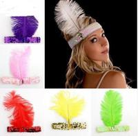 accessoires pour robe à paillettes achat en gros de-Bandeaux de plumes Flapper Sequin Charleston Dress Accessoires Costume Bandeau Bandeau Femmes Dames De Mode Party Bijoux
