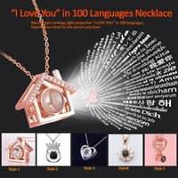 Wholesale red crown pendant necklaces resale online - quot I Love You quot in languages necklace sterling silver microscopic carvings light projected crown necklace