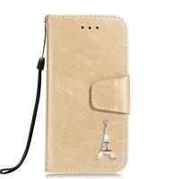 cubiertas de flecos de diamantes de imitación al por mayor-Funda de billetera de PU para iPhone XR XS Max 7 8 Plus Rhinestone Tower Design Kickstand Flip Cover Fundas con bolsillo de tarjeta