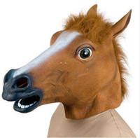 kauçuk at maskeleri toptan satış-Ürpertici At Maske Kafa Cadılar Bayramı Kostüm Tiyatro Prop Yenilik Lateks Kauçuk parti hayvan maskeleri ücretsiz kargo