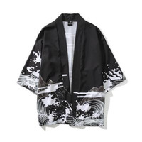 Wholesale summer clothing style for men for sale - Mens Kimono Japanese Clothes Streetwear Casual Kimonos Summer Autumn Jackets Harajuku Japan Style Cardigan Outwear for Men Drop Ship