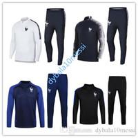 Wholesale high quality jackets - New 2018 Frances Soccer Jacket Set GRIEZMANN Soccer Training Set High Quality 17 18 France POGBA TrackSuit Set Maillot Shirts uniform