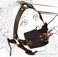 harnesses locking adult 도매-성인 용품 잠금 장치가있는 트랙션 입을 포함 고품질의 PU 섹스 본디지 하네스 타입의 개그 전체 페티쉬 한도 헤드 밴드