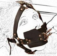 esaret kablo demeti kilidi toptan satış-Yetişkin malzemeleri kilitleme çekiş ağız içeren cihaz Yüksek kaliteli PU Seks kölelik demeti tipi dolu dışarı gag Fetiş sınırı Bandı