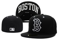 Wholesale names hats - Men's Red Sox fitted hat flat Brim embroiered B Letter Team logo fans baseball Hats red sox full closed caps with city name print under brim