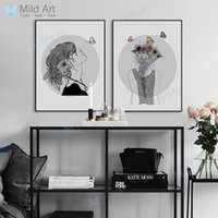 Wholesale big beautiful homes - Black and White Girl Flower Butterfly Posters Prints Beautiful Big Wall Picture Nordic Style Home Decor Canvas Painting No Frame