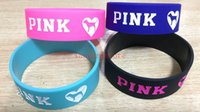 Wholesale silicone wristbands retail - Wholesale and retail Your favorite love Pink Heart Wristband Bracelet Master Roshi Sports ring Cosplay Silicone Bracelet Gift in here 20pcs