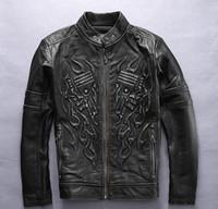 Wholesale Black Jacket Men Flame - 3D Flame skull pattern back Affliction men leather jackets 100% genuine leather motorcycle jackets