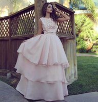 Wholesale water drop jewels - Chic Pink Arabic Evening Dresses Modern Sleeveless A Line Tier Skirts Chiffon Long Party Prom Pageant Gowns