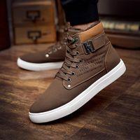 zapatos de otoño hombre al por mayor-6color zapatos de hombre Sapatos Tenis Masculino Moda masculina otoño invierno botas de cuero para hombre Casual High Top Canvas Men Shoes
