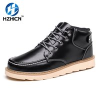 Wholesale casual work boots for men - HZHICN Winter Mens Boots Casual Black PU Leather Ankle Boots For Men Shoes Fashion Work Fur Snow Men Warm Winter Shoes