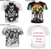 Wholesale Funny Band Shirts - New Fashion Couples Men Women Unisex Kiss Band Funny 3D Print No Cap Casual tshirt T-Shirts Tee Top T6