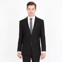 entworfene anzüge für männer zurück groihandel-Black Groom Tuxedos Custom Made Groomsmen Suits Latest Designs Back Vent Best Man Suit Wedding Men Suits Bridegroom 2 Pieces (Jacket+Pants)