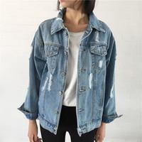 ingrosso lunghe giacche blu jean-Giacca donna vintage manica lunga allentata giacche di base con foro bottone blu jeans cappotto casual ragazze outwear abbigliamento autunno top