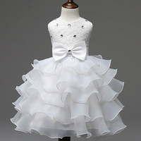 Wholesale Solid Light Blue Ball Gown - 2018 New Fashion Girls Wedding Princess Dress Winter Formal Gown Ball Flower Kids Clothes Children Clothing Party Girl Dresses Package Mail