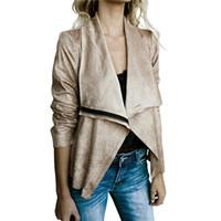 ceket kadın süet deri toptan satış-Kadınlar Fermuar Temel Süet Ceket Coat Yaka Uzun Kollu Casual Deri Ceket Kadınlar Kot Dış Giyim Kısa Kış Tops